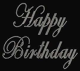 Happy Birthday Rhinestone Transfer Iron on