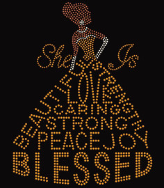She is Blessed Dress lady (Golden dress, Brown body and clear hands, necklace and ear ring) Rhinestone Transfer