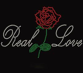 Real Love red Flower Rose Rhinestone Transfer