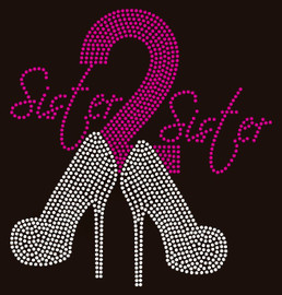 Sister2Sister Heels (Cursive) Sister to sister Rhinestone transfer