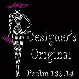 Designer's Original Purple Hat & Purse Lady Psalm 139:14 Rhinestone transfer