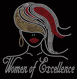 Woman of Excellence girl (reg Golden hair) - Custom Rhinestone transfer