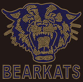 Bearkats with Bear Face (Golden-Blue) - Custom Rhinestone transfer
