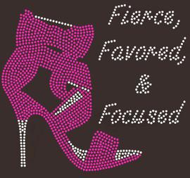 Fierce Favored & Focused Heel (Fuchsia) Rhinestone Transfer