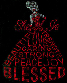 She is Blessed Dress lady (Red dress with Clear body ) Rhinestone Transfer