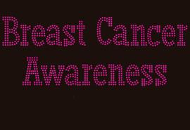 (Fuchsia Text) Breast Cancer Awareness Rhinestone Transfer