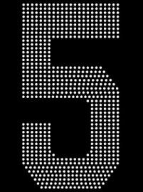 "8"" Sports number (5) Rhinestone Transfer"