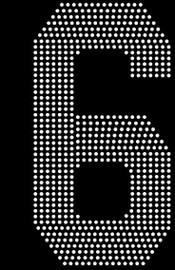"8"" Sports number (6) Rhinestone Transfer"
