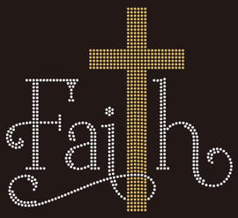 Faith with Golden Cross Religious Rhinestone Transfer
