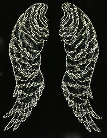 Large Angel Wing Zebra Rhinestone Transfer