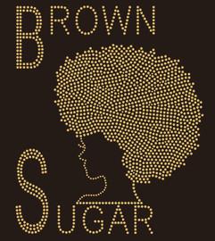 Brown Sugar Afro Girl Rhinestone Transfer