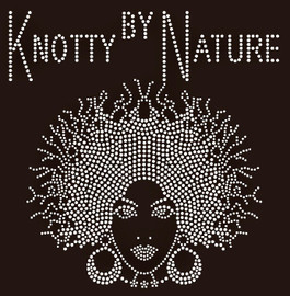 Knotty by Nature Afro girl Rhinestone Transfer