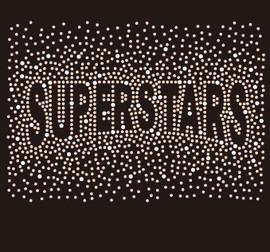 SUPERSTARS (text) Splatter Custom Rhinestone Transfer