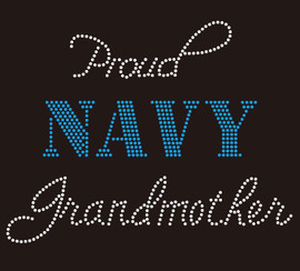 Proud Navy Grandmother Rhinestone Transfer