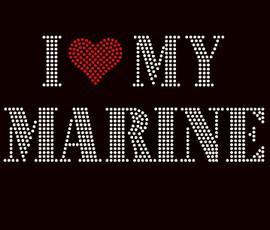 I Love my Marine Rhinestone Transfer