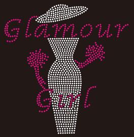 Glamour Girl with Hat Lady - Custom Rhinestone Transfer
