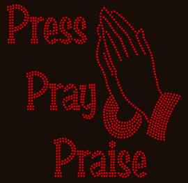 Press Pray Praise with hands (red) Religious Custom Rhinestone Transfer