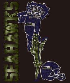 SeaHawks Betty Boob helmet (Green/blue/clear) Rhinestone Transfer
