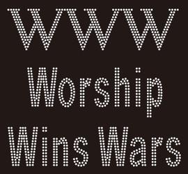 Worship Wins War (WWW en linea) Religious Rhinestone Transfer
