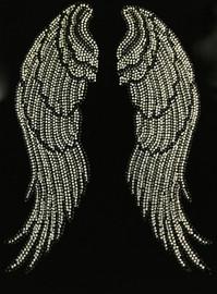 Large Angel wing (Black Clear) Rhinestone Transfer