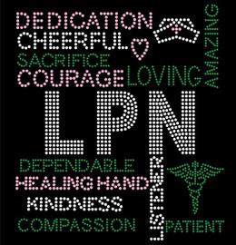 LPN Certified Assistant Nurse Words Rhinestone transfer