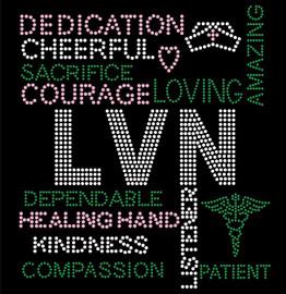 LVN Certified Assistant Nurse Words Rhinestone transfer