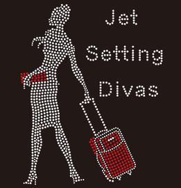 Jet Setting Divas-Hand Carry Lady - custom Rhinestone Transfer