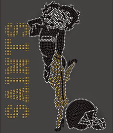 Saints Betty Boob Football Rhinestone Transfer