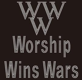 (New) Worship Wins War (WWW) Religious Rhinestone Transfer