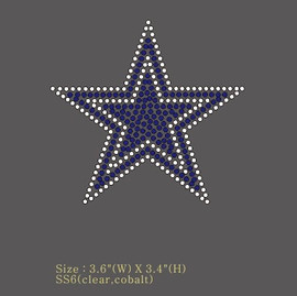 "Blue Star clear outline 3.6"" (Small) Rhinestone Transfer"