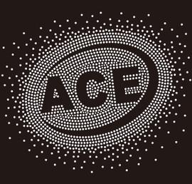ACE (text) starburst - Custom Rhinestone Transfer