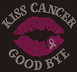 Kiss Cancer Goodbye Lip Ribbon Breast Cancer Awareness Rhinestone Transfer