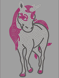 "(Large) Unicorn Horse (5.2""(W) x 9.5""(H) Rhinestone Transfer"