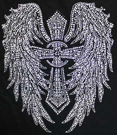 Cross wing filled Religious Rhinestone Transfer Iron On