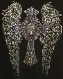 "Large Angel Wing with cross Favorite Religious Rhinestone Transfer Size: Approximately 11.9""(W) x 15.2""(H)"
