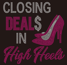 Closing Deals in High Heels Custom Rhinestone Transfer