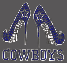 Cowboys text with 2 Heels-custom Rhinestone Transfer