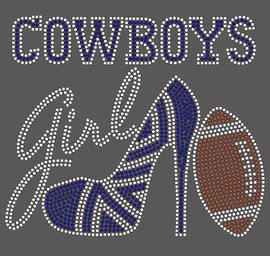 Cowboys girl Heel Football Rhinestone Transfer