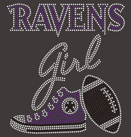 Ravens girl Tennis shoe sneaker Football Rhinestone Transfer