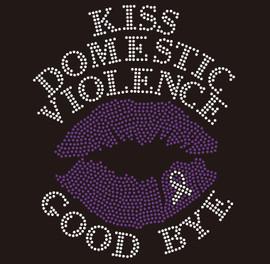 Kiss Domestic Violence Goodbye Lip Ribbon Awareness Rhinestone Transfer