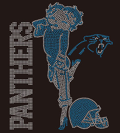 Panthers Betty Boop custom Rhinestone Transfer