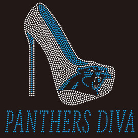 Panthers Diva Heel custom Rhinestone Transfer