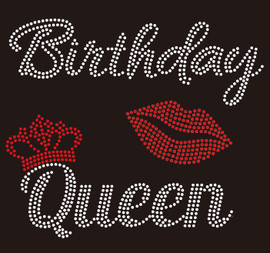 Birthday Queen Crown with Lip - custom Rhinestone Transfer