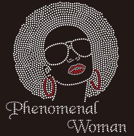 Phenomenal Woman big hair girl with goggle Rhinestone Transfer