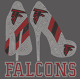 Falcons 2 Heel  custom Rhinestone Transfer