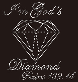 I'm God's Diamond Psalms 139:14 custom Rhinestone Transfer