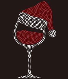 Christmas Cap on Wine Glass Rhinestone Transfer