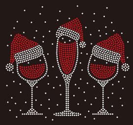 3 Christmas Caps on Wine glass Rhinestone Transfer