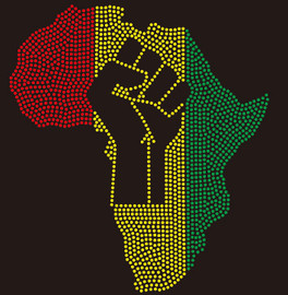 (MAP) Africa map with Fist - custom Rhinestone Transfer