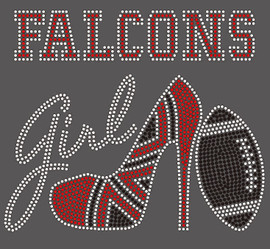 Falcons girl Heel Football Rhinestone Transfer